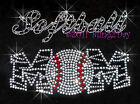 White Zebra Softball Mom Rhinestone Iron on Transfer Hot Fix Bling Sports