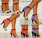 LADIES WOMENS ANKLE CUFF COLOUR BLOCK STRAPPY PEEP TOE STILETTO HIGH HEELS SHOES