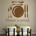 Dinner Is Served Cutlery Quote Wall Sticker / Art Decor House Design Kitchen R30