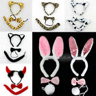 New 3Pcs Kit Rabbit Bunny Cow Leopard Costume Ear Bow Tie Tail 4 Halloween Party
