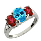 2.60 Ct Oval Swiss Blue Topaz and Red Garnet 14k White Gold Ring