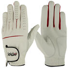 New Mens Cabretta Leather Golf Gloves Soft White Red Lycra Left Hand Regular