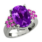 5.10 Ct Oval Purple Amethyst Pink Sapphire Sterling Silver Ring