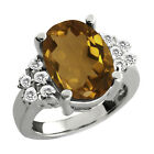 4.70 Ct Oval Whiskey Quartz White Topaz Sterling Silver Ring