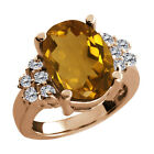 4.63 Ct Oval Champagne Quartz White Diamond Rose Gold Plated Silver Ring