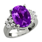 4.82 Ct Oval Purple Amethyst White Sapphire Sterling Silver Ring