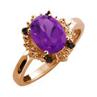 1.52 Ct Oval Purple Amethyst and Diamond Rose Gold Plated Sterling Silver Ring