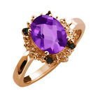 1.62 Ct Checkerboard Purple Amethyst and Diamond Rose Gold Plated Silver Ring