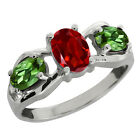 1.70 Ct Oval Red Garnet and Green Tourmaline Sterling Silver Ring
