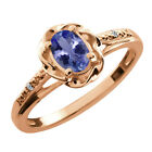 0.46 Ct Oval Blue Tanzanite White Diamond Rose Gold Plated Sterling Silver Ring
