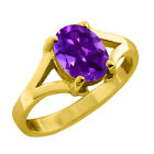 0.80 CT 7x5 Oval Cut Cut Amethyst Yellow Gold Ring