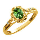0.41 Ct Oval Green Tourmaline White Topaz Yellow Gold Plated Silver Ring