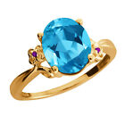 2.86 Ct Oval Swiss Blue Topaz Amethyst Yellow Gold Plated Sterling Silver Ring