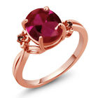 3.38 Ct Oval Created Ruby Garnet Rose Gold Plated 925 Silver Ring