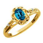 0.56 Ct Oval London Blue Topaz Topaz Gold Plated Sterling Silver Ring