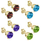 Garnet Topaz Amethyst Or Peridot 14K Yellow Gold Studs 5mm