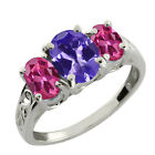2.55 Ct Oval Blue Tanzanite and Pink Tourmaline Sterling Silver Ring