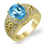 3.33 Ct Oval Swiss Blue Topaz Diamond Gold Plated Sterling Silver Ring