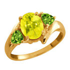 2.12 Ct Oval Canary Mystic Topaz and Peridot Gold Plated Silver Ring