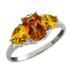 2.42 Ct Oval Ecstasy Mystic Topaz and Yellow Citrine 925 Sterling Silver Ring