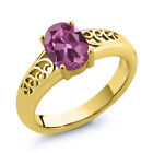 0.85 Ct Oval Pink Tourmaline Gold Plated Sterling Silver Ring