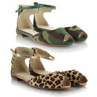 Ladies Flat Casual Animal Leopard Army Print Sandals Peeptoe Ballet Shoes Pumps