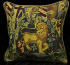Piped SCATTER CUSHION COVERS 42cm sq VARIOUS Medieval Tapestry Designs Lion etc