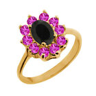 1.18 Ct Oval Black Onyx Pink Sapphire Yellow Gold Plated Sterling Silver Ring
