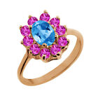 1.30 Ct Oval Swiss Blue Topaz Pink Sapphire Rose Gold Plated Silver Ring