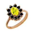 1.28 Ct Oval Canary Mystic Topaz Black Diamond Gold Plated Sterling Silver Ring
