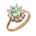 1.40 Ct Oval Green Amethyst White Topaz Rose Gold Plated Sterling Silver Ring