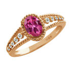0.97 Ct Oval Pink Tourmaline White Sapphire Rose Gold Plated Silver Ring