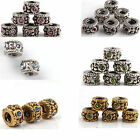 30x Antique Silver/Golden Tone Rhinestone Screw Spacer Charms Beads Fit Bracelet
