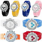 NEW Geneva SILICONE RUBBER JELLY Women/Girl  Wirst  WATCH With CRYSTALS DESIGNER