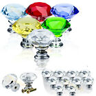30MM Crystal Glass Diamond  Door Knobs Furniture Drawer Cabinet Kitchen Handle