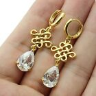 18k Yellow Gold GP Water-Drop Chinese Knot Earring Use Swarovski CZ Crystal
