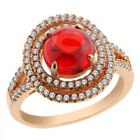 13.20 Ct Round Cabouchon Red Cubic Zirconia 925 Rose Gold Plated Silver Ring