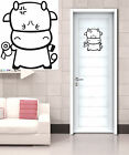 Funny Cow With Toilet Paper Wall Art Decal Vinyl Sticker Toilet Entrance Sign
