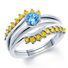 1.90 Ct Round Swiss Blue Topaz and Yellow Sapphire Silver Ring Guard Enhancer