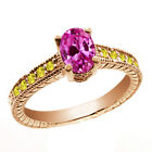 1.50 Ct Oval Pink Created Sapphire Yellow Sapphire 14K Rose Gold Ring
