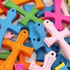100pcs Mixed Lots Charms Wooden Cross Pendant Fit Jewelery Necklaces