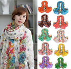 New Fashion Long Cotton Voile Floral Shawl Scarf Wrap Stole For Girls/Lady