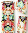 Fashion Sexy Womens Sweet Retro Flower Print Sleeveless Slim Mini Dress S M L