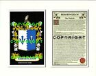 BERMINGHAM Family Coat of Arms Crest + History - Available Mounted or Framed