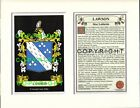 LAWSON Family Coat of Arms Crest + History - Available Mounted or Framed