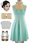 PLUS SIZE 50s Style MINT with White POLKA DOTS Pinup Betty HALTER TOP Sun Dress