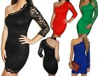 WOMENS LADIES ONE SLEEVE LACE BODYCON SHORT MINI CLUBBING PARTY  DRESS 8 10 12 14