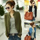 Women Long Sleeve Stand-up Collar Epaulet Double Breasted Short Coat Jacket Tops