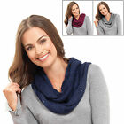 Ladies Snood With Sequins Soft Knitted Wrap Scarf Warm Winter Navy Grey Burgundy