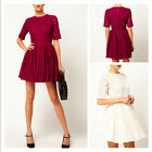 European Style Womens Lace Dress Flower Printing Short Sleeve Round Neck Dress